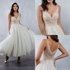Simple Cheap Short Wedding Dresses Bridal Gowns A Line V Neck Appliques Lace