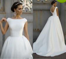 Simple Cheap Wedding Dresses for Girls Bridal Gowns Cap Sleeves Satin Backless