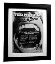 TED NUGENT+Scream Dream+POSTER+AD+RARE ORIG 1980+FRAMED+EXPRESS GLOBAL SHIP