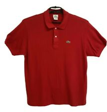 Lacoste men's polo shirt red cotton short sleeve half button front size 6