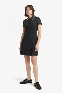 BNWT Women's Fred Perry Reissues Black Pleated Pique Tennis Dress UK 6 RRP £110