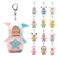 Cartoon Sleep Baby Doll Keychain bag charm rhinestone keyring cute car key chain