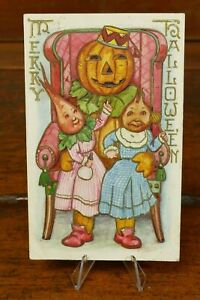 Antique HALLOWEEN Whitney Postcard Merry Vegetable People 1910 Posted Vintage