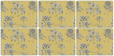 Pimpernel Etchings and Roses Placemats, Wood, Yellow, Small, Set of 6