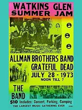 """Allman Brothers / The Band Watkins Glen 16"""" x 12"""" Photo Repro Concert Poster"""