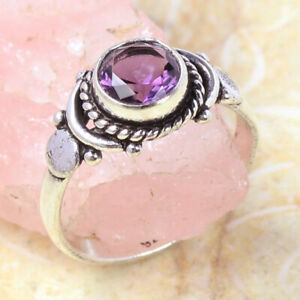 Amethyst 925 Silver Plated Handmade Gemstone Ring of US Size 7.5 Ethnic Gift