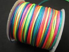 3 metros Shamballa/macramé banda 1mm neón multicolor 10405