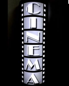 """12"""" BATTERY HOME THEATER LED WALL SCONCE HOME CINEMA SIGN MOVIE FILM REEL"""
