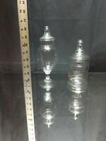 A MATCHED PAIR! Two Dainty Vintage Glass Apothecary Jars Lidded Footed Set