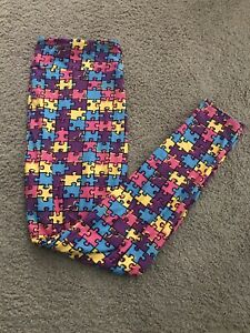 Lularoe TC2 Leggings Jigsaw Puzzle Autism New Tall Curvy HTF