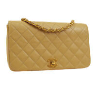 CHANEL Quilted Full Flap Single Chain Shoulder Bag 1462438 Beige Leather 01406