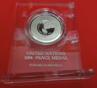 1974 United Nations Proof Sterling Silver Peace Medal w/Stand - Unattached Medal