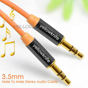3.3FT 1M OFC 3.5mm Stereo plug male to male Gold Audio IPOD AUX MP3 Cable cord