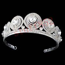 Pageant Baroque Queen Crown Tiara Sparkly Star Silver Half Head Hair Headdress