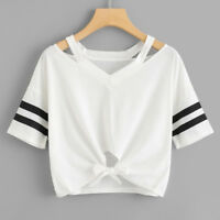 New Women Short T-Shirt Short Sleeve Round Neck Casual Loose Tops Blouse Summer