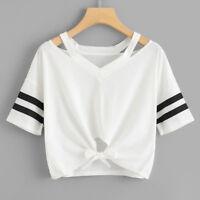 Mujer Corto Camiseta Manga Corta Cuello Redondo Informal Suéter Blusa