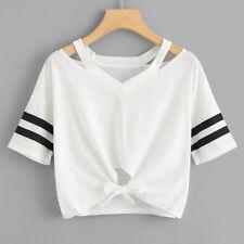 donna corto t-shirt manica corta girocollo casual maglia maglia