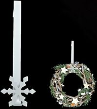 Metal Christmas White Snowflake Wreath Door Hanger Festive Hook Decoration 30cm