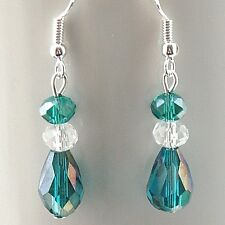 Crystal Earrings with 925 Sterling Silver Hooks Green & Clear New LB311