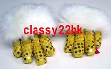 2 CLAWS (FOR ONE DANCER) GOLD SEQUIN WITH WHITE SHEEP FUR LION DANCE CLAWS (NEW)