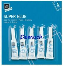 New 5 Pack SUPER GLUE Strong Bond Adhesive Plastic Glass Wood Rubber Metal 3g ✔