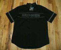 Harley Davidson Black Woven Cotton Snap Up Short Sleeve Embroidered Shirt Men XL