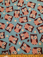 SNUGGLE FLANNEL OWLS Turquoise Brown 100% Cotton Fabric BTY