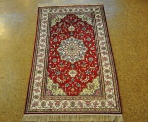 Red - Ivory Rug Sales Hand-Knotted Carpet 3x5 Living Room Silk
