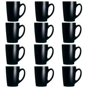 12x Luminarc New Morning Black 320ml Coffee Mug Glass Cup Cappuccino Hot Drink