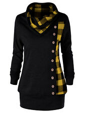 XL-5XL Women Plaid Cowl Neck Hoodie Tunic Sweatshirt Jumper Sweater Pullover Top