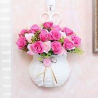 Plastic Flower Plant Rattan Basket Pot Holder Garden Wall Hanging Decor Vase