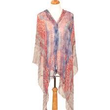 Women's 100% Chiffon Silk Scarf / Gray / Abstract / 78 X 46