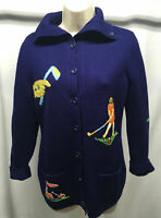 Andreno Argenti Vintage Cardigan Sweater S 60s Blue Embroidered Golf Pockets