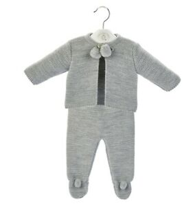 Traditional Spanish Style Baby Boys and Girls Grey Knitted Pom Pom Outfits