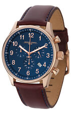 Jorg Gray JG5500-21 Mens Watch Blue Dial Chronograph With Dark Red Leather Strap