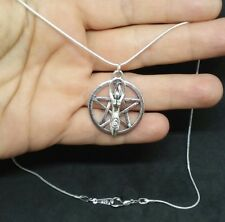 GODDESS CHARM PENTACLE PENTAGRAM PENDANT WICCAN PAGAN DRUID SILVER NECKLACE
