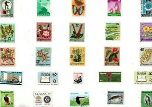 A LOVELY MIX OF 25 DIFFERENT GOOD/FINE USED STAMPS FROM GUYANA