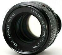 Asahi Pentax smc Takumar 1:1.8 55mm Lens M42 *As Is* #A031d