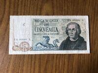 BANCONOTA LIRE 5000 COLOMBO II TIPO 3 CARAVELLE 11 4 1973