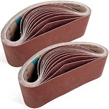 STUHAD 3 x 21 Inch Sanding Belts, 24pcs Belt Sander Sandpaper, Aluminum Oxide 4