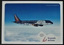 """RARE TINTIN POST CARD """"LES AVENTURES DE TINTIN"""" BRUSSELS AIRLINES AIRBUS A320"""