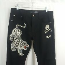 Black Jeans Tiger Skull Embroidered Denim NWT New wTags Mens 34x30