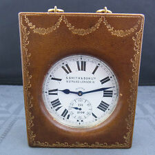 Tisch-Uhr S.Smith & Son Ltd.9.Strand London w / J.C.Vickery Lederetui