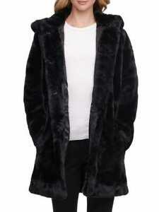DKNY Super Soft hooded Luxury Black Faux Fur Coat  Size US XS UK S BNWT
