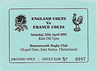 ENGLAND COLTS v FRANCE YOUTH 25 Apr 1992 at BOURNEMOUTH, ENGLAND RUGBY TICKET