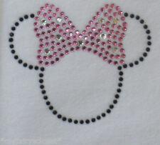 "2.5"" pink/black Minnie Mouse costume iron on Disney rhinestone transfer"