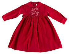 JACADI Girl's Agate Lacquered Red Flower Embellished Smock Dress Age 2 NWT $96