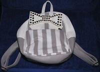 New Betsey Johnson Backpack Handbag Purse Bow Lavender Taupe White Stripe Lined