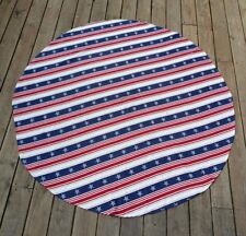 """July 4th Decor Patriotic Tablecloth American Flag Round Deck Table Cover 68"""""""