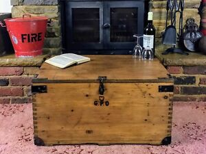 Old Antique Pine Chest, Vintage Wooden Storage Trunk, GPO Tool Box, Coffee Table